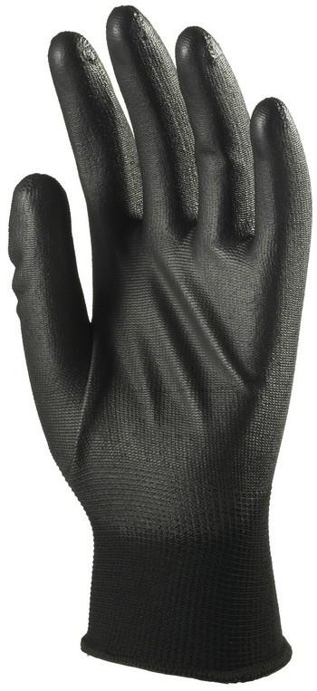 6040 Tenyéren mártott PU kesztyű fekete
