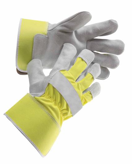 CURLEW bélelt hasított marhabőr kesztyű fluo sárga