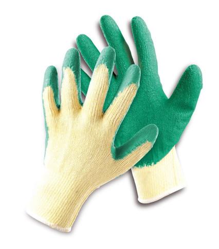 HS-04-002 DIPPER LIGHT tenyéren latex mártott kesztyű sárga-zöld
