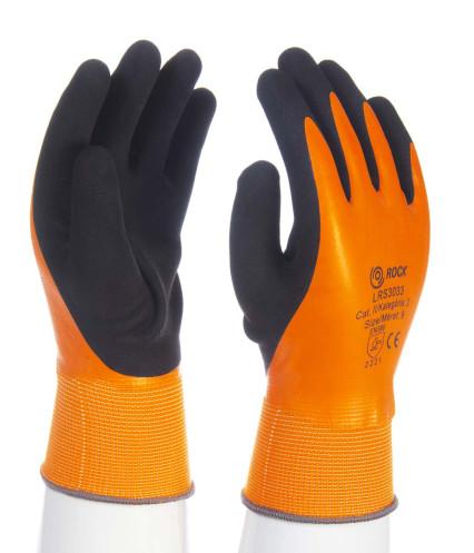 LRS3033 narancssárga, csuklóig vízálló mártott latex kesztyű