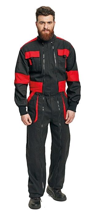 Megszűnt! MAX double zip. overall fekete/piros