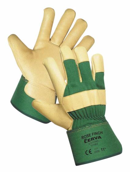 ROSE FINCH színsertésbőr tenyerű bélelt kesztyű zöld-sárga